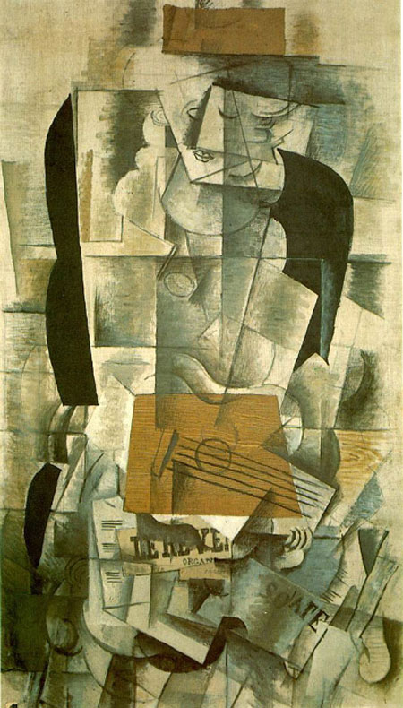 Country Born & lived in Paris, France Title of Painting: Woman with Guitar  Date of Painting: 1913. Medium: Oil and charcoal on canvas